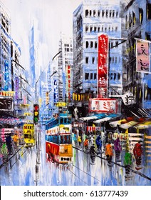 Oil Painting - Street View of Hong Kong