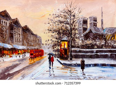 Oil Painting - Street View of London