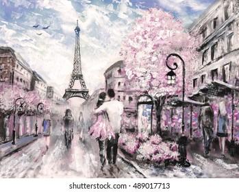 Oil Painting, Street View of Paris. european city landscape