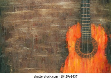 oil painting style abstract image of acoustic guitar