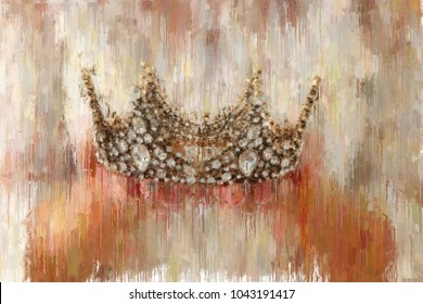 oil painting style abstract image of lady with white dress holding gold crown. fantasy medieval period