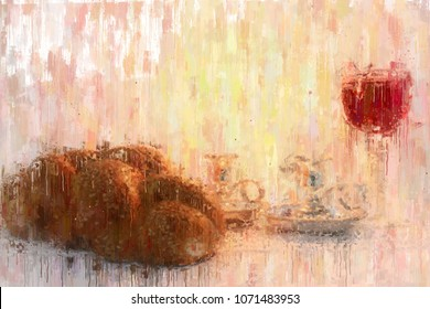 oil painting style abstract image of shabbat. challah bread, shabbat wine and candles