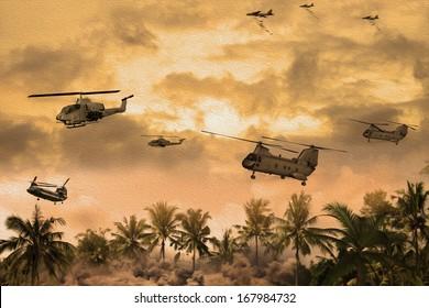 「油彩画」戦中のベトナム上空のヘリコプターの画像。(アーティストの印象)