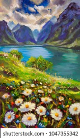 Oil painting summer field of white daisies floers on background blue turquoise river see, great blue mountains landscape, sun bright clouds sky nature floral artwork modern floral
