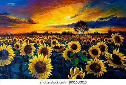 Oil Painting. Sunflower field. Modern art.
