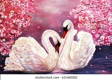 oil painting swan pink flowers