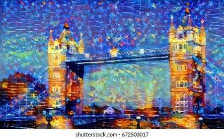oil painting tower bridge london england