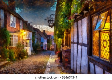An oil painting of tudor cottages at Mermaid Street at Rye in East Sussex