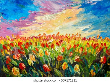 oil painting, tulips on a background of beautiful sunrise, impressionism art