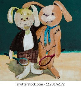 oil painting of two bunnies on the dark green backround. Funny illustration hand drawn