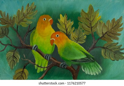 Oil painting of two colorful budgerigars painted on a canvas