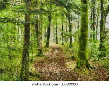 An oil painting of a winding path through a leafy enchanted forest