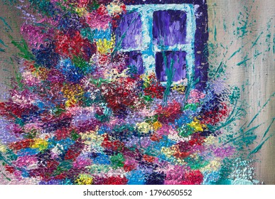 Oil painting window with flowers. The window of an old house. Texture.