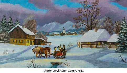 Oil painting of a winter landscape with two persons sitting on a horse-drawn carriage