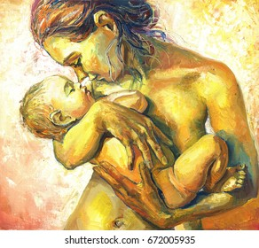 Oil painting of a woman with a child in her arms, happy motherhood