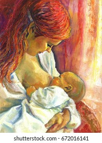 Oil painting of the woman nursing the child, breast feeding mother