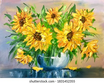 Oil painting yellow flowers. sunflowers in a vase. Yellow oil paints. Artistic colorful painting on canvas. hobby drawing. Painting canvas handmade