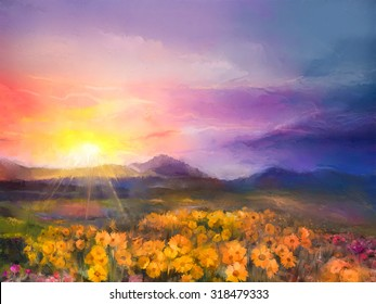 Oil painting yellow- golden daisy flowers in fields. Sunset meadow landscape with wildflower, hill and sky in orange and blue violet color background. Hand Paint summer floral Impressionist style