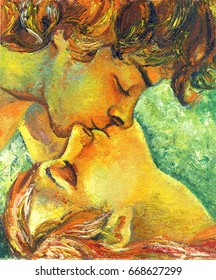 Oil painting of a young couple in love, boy and girl kissing, first kiss
