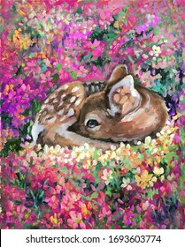 Oil painting of young deer in wild landscape with spring or summer colorful flowers. Baby fawn Fawn lies on a blossoming sunny lawn. Hand drawn picture in impressiomism style
