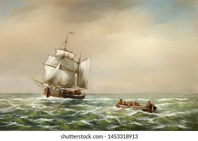 Oil paintings landscape, digital art, fishermen, old ship in the sea. Fine art.