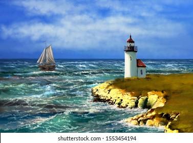 Oil paintings landscape, digital art, sea landscape, fishermen,lighthouse on coast of sea. Fine art.