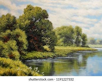 Oil paintings landscape. Fine art.
