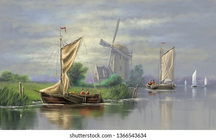 Oil paintings landscape. Fine  art, dutch windmill in holland, sailing boat in the sea