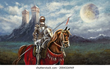 Oil paintings landscape, fine art. Medieval knight with sword, rider on horse, knight on horse