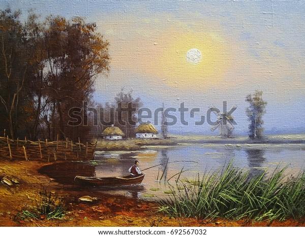 Oil paintings landscape, fisherman