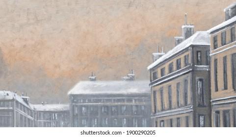 Oil paintings landscape, old city, street in winter. Fine art