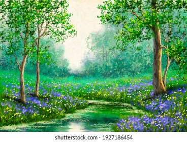 Oil paintings landscape, spring, tree in the forest, landscape with river