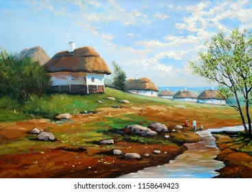 Oil paintings rural landscape. Old village, Ukraine. Fine art.