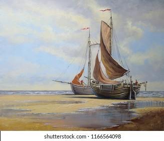 Oil paintings sea landscape. Fisherman, ships, boats. Fine art.