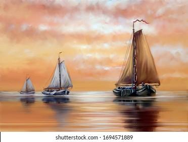 Oil paintings sea landscape, sailboat at sunset. Fine art.