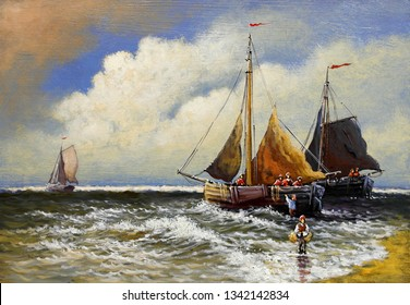 Oil paintings sea landscape, sailing boat in the sea
