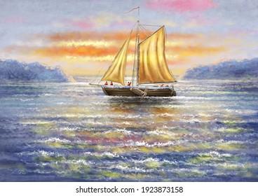 Oil paintings  sea landscape, sailing boat at sunset. Fine art.