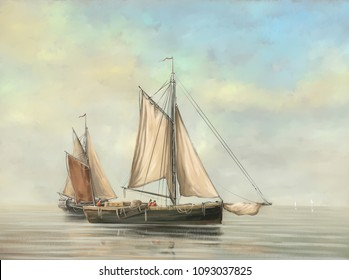 Oil paintings sea landscape, ships, boats.Fine art.