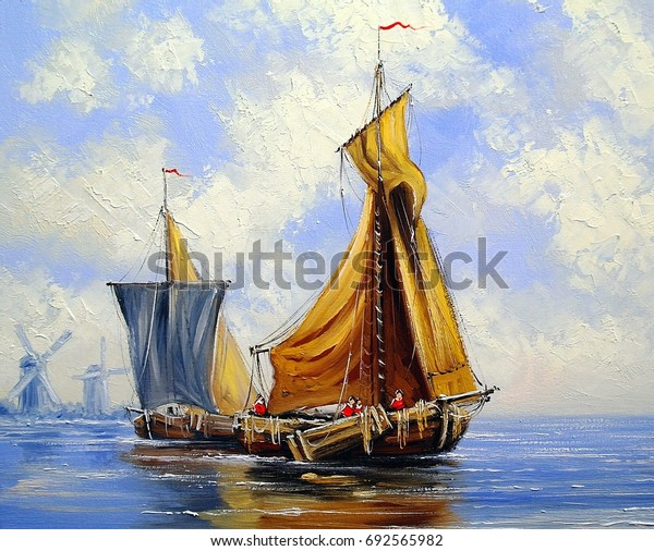 Oil paintings sea landscape, ships and boats