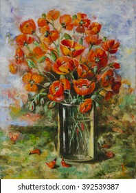 Oil paints on a canvas: a bouquet of poppies