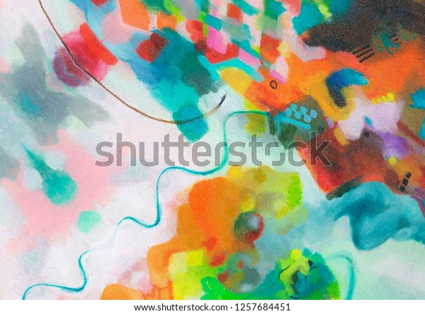 Oil Pastel Drawing Abstract Color Background Stock