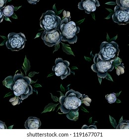 Oil or pastel drawing. Seamless pattern of different white and blue peony flowers and leaves on dark black background. Flowers drawing in old style
