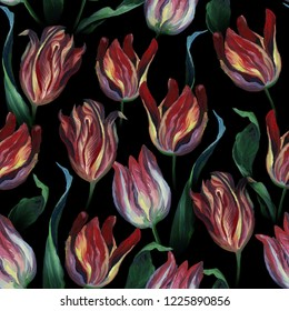 Oil or pastel drawing. Seamless pattern of red tuliip flowers and leaves on dark black background. Flowers drawing in old style