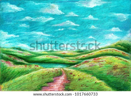 Oil Pastel Painting On Canvas Green Stock Illustration Royalty