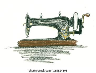 Oil pastels sketch of the vintage sewing machine