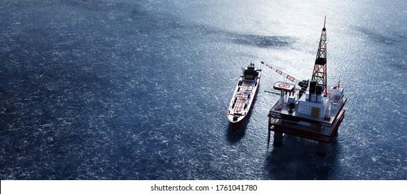 Oil platform on the ocean. Offshore drilling for gas and petroleum. Supply vessel alongside. Industrial 3D render