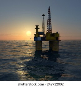 Oil platform on sea during sunrise