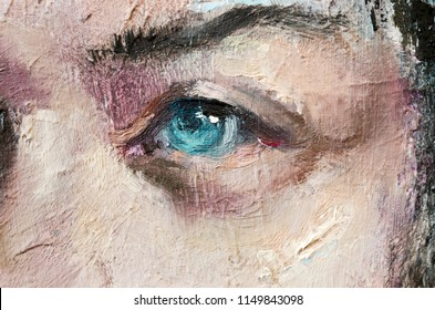 Oil portrait sketch painting. Conceptual abstract painting of a girl's beautiful face.