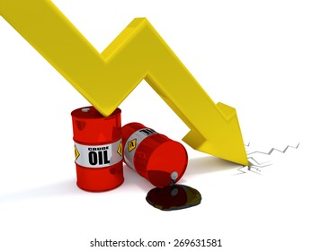 Oil price decrease - A large arrow directed down is leaning to an oil drum. 2 oil drums standing on a floor. One drum is leaking oil.