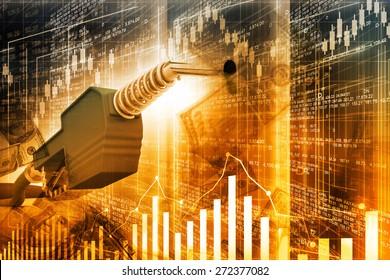 Oil price graph, oil pump nozzle and stock market  chart